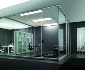 Mampara de oficina con cristal laminado
