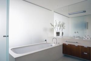 Baño con vidrio mateado Guardian SatinDeco
